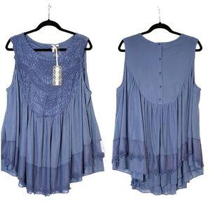 Ultra Pink Blue Sleeveless Blouse Women's, NWT, 2X